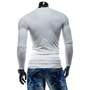 Laconic Personality Color Block V-Neck Slimming Long Sleeves Men's Cotton Blend T-Shirt - WHITE L