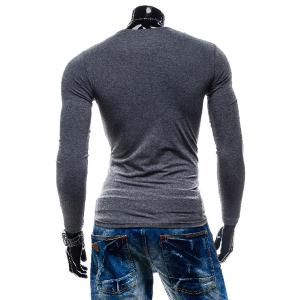 Laconic Personality Color Block V-Neck Slimming Long Sleeves Men's Cotton Blend T-Shirt -