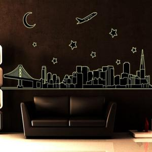 Luminous City Architecture Style Wall Sticker Home Appliances Decor Wall Decals -