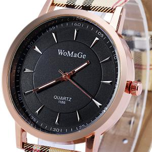 WoMaGe 1186 Female Quartz Watch Round Dial with  Leather Band -