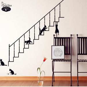 Stairs and Kitty Style Wall Sticker Home Appliances Decor Wall Decals - BLACK