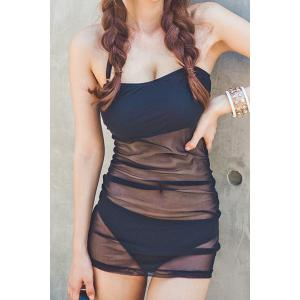Sexy Halter Sleeveless See-Through Two-Piece Women's Swimsuit