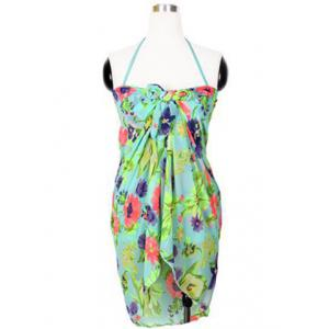 Alluring Halter Floral Print Flounced Three-Piece Women's Swimsuit -