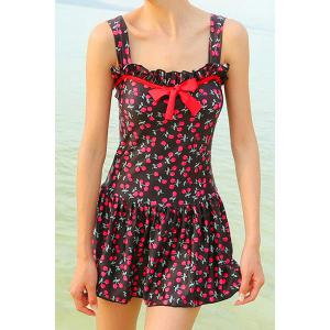 Sweet Cherry Print Bowknot Decorated One-Piece Women's Swimsuit