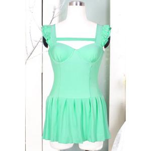 Trendy Style Square Neck Solid Color One-Piece Women's Swimsuit - GREEN XL