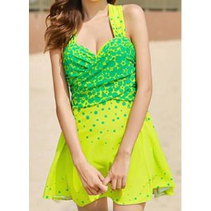 Stylish Sweetheart Neck Sleeveless Polka Dot One-Piece Swimsuit For Women