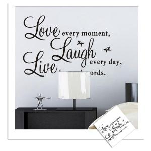 Live Love Laugh English Quotes Style Wall Sticker Home Appliances Decor Wall Decals - BLACK