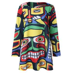 Casual Scoop Neck Long Sleeve Printed Loose-Fitting Women's Dress -