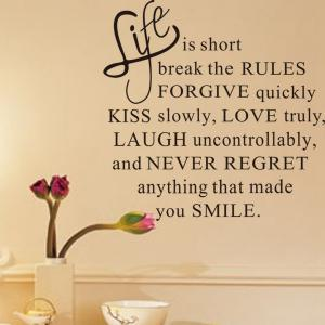 Life is Short English Word Style Wall Sticker Home Appliances Decor Wall Decals -