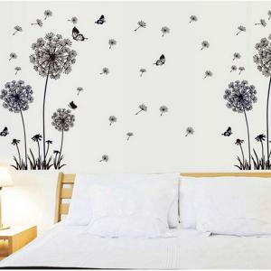 Black Dandelion Style Wall Sticker Home Appliances Decor Wall Decals - BLACK