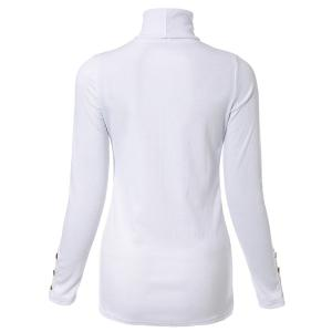 Elegant Turtleneck Solid Color Long Sleeves Sweater For Women - WHITE 2XL