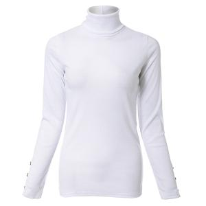 Elegant Turtleneck Solid Color Long Sleeves Sweater For Women - WHITE L