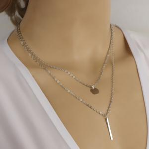 Alloy Round Stick Pendant Necklace - Silver - S