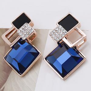 Pair of Square Faux Crystal Openwork Earrings - Blue