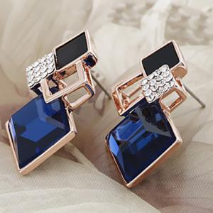 Pair of Square Faux Crystal Openwork Earrings -