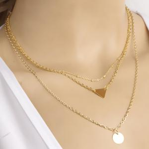 Disc Triangle Pendant Layered Necklace