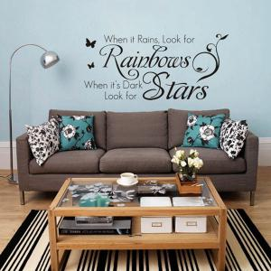 Rainbows and Stars English Words Style Wall Sticker Home Appliances Decor Wall Decals - BLACK