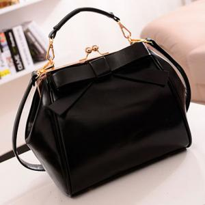 Graceful Bowknot and Metallic Design Women's Crossbody Bag - BLACK