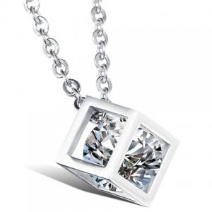 Rhinestone Square Shape Pendant Necklace - As The Picture - 4xl