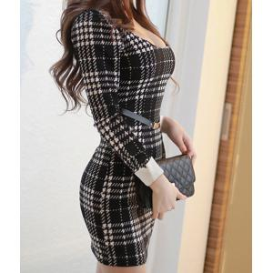 Sexy U-Neck Long Sleeve Slimming Plaid Women's Dress -