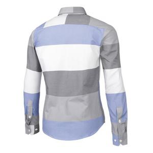 Trendy Distinct Color Block Stripes Print Turn-down Collar Slimming Long Sleeves Men's Shirt -