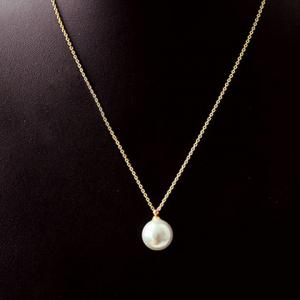 Round Faux Pearl Pendant Necklace