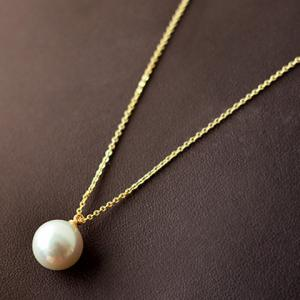 Round Faux Pearl Pendant Necklace - AS THE PICTURE