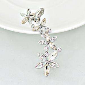 ONE PIECE Hollow Out Faux Crystal Flower Ear Cuff - SILVER