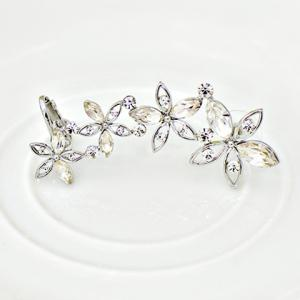 ONE PIECE Hollow Out Faux Crystal Flower Ear Cuff -