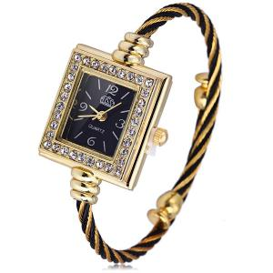 USS 1198 Women Quartz Watch Diamond Bracelet Steel Strap Rectangle Dial - WATER RED