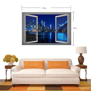 Fashion Removable Vinyl 3D Wall Stickers Decals with Night Scene City Building Landscape -
