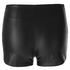 Stylish Solid Color Zippered Faux Leather Shorts For Women -