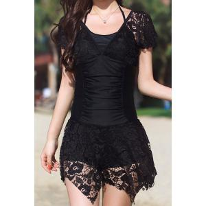 Stylish Scoop Collar Spliced Asymmetrical One-Piece Women's Swimwear