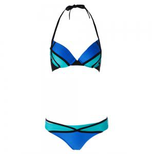 Sexy Halter Spliced Color Block Women's Bikini Set -
