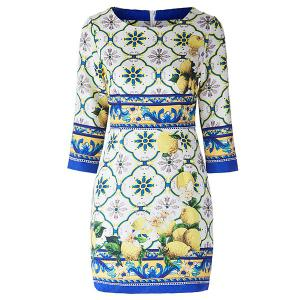 Vintage Jewel Neck 3/4 Sleeves Jacquard Print Dress For Women - AS THE PICTURE L