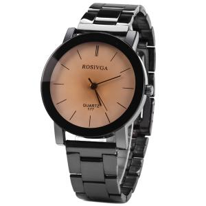 Rosivga 177 Quartz Watch with Stripes Indicate Stainless Steel Watchband for Men - BLACK