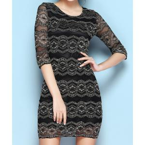 Vintage Scoop Neck Half Sleeves Lace Dress For Women -