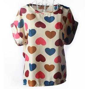 Stylish Scoop Collar Short Sleeve Heart Print Chiffon Women's Blouse