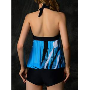 Stylish Halter Spliced Printed One-Piece Women's Swimwear - BLUE L