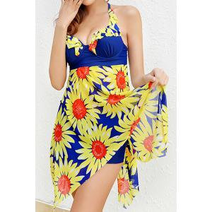 Stylish Halterneck Floral Print Two-Piece Swimsuit For Women -