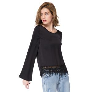 Stylish Scoop Neck Long Sleeve Solid Color Laciness Women's Blouse - BLACK L