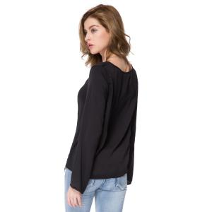 Stylish Scoop Neck Long Sleeve Solid Color Laciness Women's Blouse -
