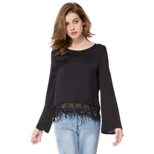 Stylish Scoop Neck Long Sleeve Solid Color Laciness Women's Blouse
