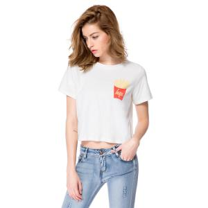 Casual Style Round Neck Short Sleeve Chips Pattern Women's T-Shirt -