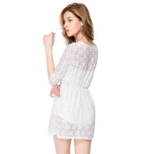 Sexy Half Sleeve V-Neck Hollow Out Design Women's Dress -
