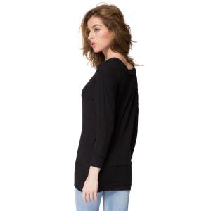 Simple Scoop Neck Long Batwing Sleeve Solid Color Slimming Knitted Women's Dress - BLACK M
