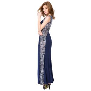 Stylish Round Collar Floral Print Splicing Furcal Sleeveless Women's Maxi Dress -