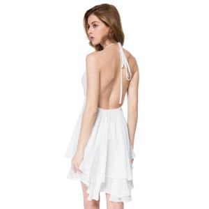 Sexy Style Plunging Neck Lace Splicing Backless Sleeveless Women's Dress -