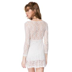 Lace Long Sleeve Plunge Sheer Mini Dress - WHITE S