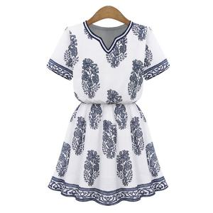 Stylish V-Neck Short Sleeve Printed Women's Dress